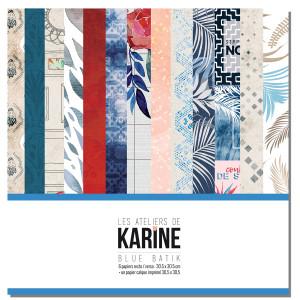 Blue Batik Pack Papiers recto/verso + calque imprimé