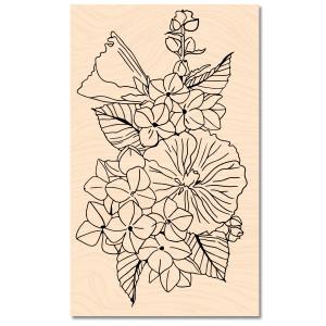 A contre Courant Tampon Bois Fleurs d'été