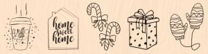 Mint, Choco & Gourmandises-Tampon bois Mes indispensables de l'hiver