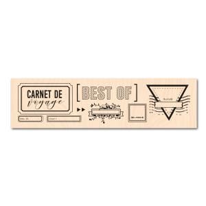 Nomade-Tampon bois Etiquettes Voyage