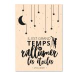 Carte Blanche Tampon Bois Etoiles