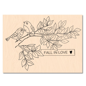 Cahier d'Automne Tampon Bois Fall in love
