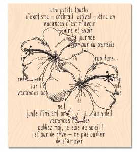 RDV au Soleil-Tampon bois Hibiscus Story