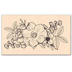 Se mettre au vert-Tampon bois Trio de fleurs