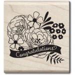 Tampon bois Congratulations flowers