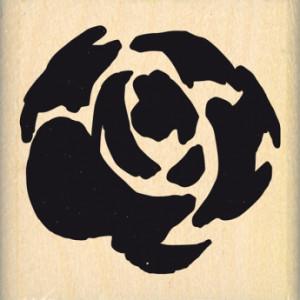 Tampon bois Grande rose aquarelle